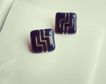 Navy Blue Square Earrings
