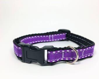 "Purple Dashed 1/2"" Wide Collar, Cat Collar, Small Dog Collar, Handmade"