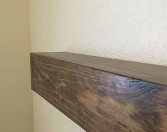 "Provincial Satin Wooden Mantel.Hollow Fireplace Mantel Shelf.TV Shelf.Wood Home Decor.Floating Beam shelf.60""Longx5.5""Deepx5.5""High"