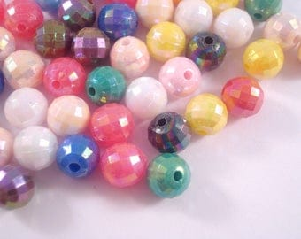 Faceted Round Beads 8mm x 200 - Iridescent Colour Mix