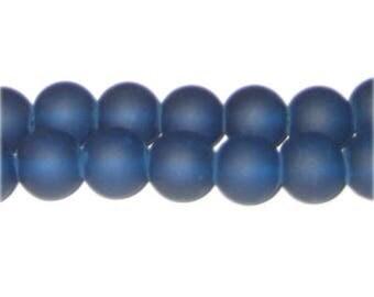 12mm Petrol Blue Sea/Beach-Style Glass Bead, approx. 18 beads