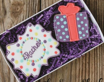 Medium Two Cookie Boxed Set - Personalized Rainbow Square Plaque and Present
