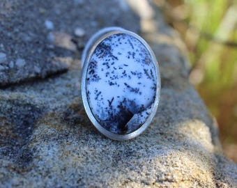 Dendritic Opal (Merlinite) sterling silver ring: size - 54 (US size - 6.25)