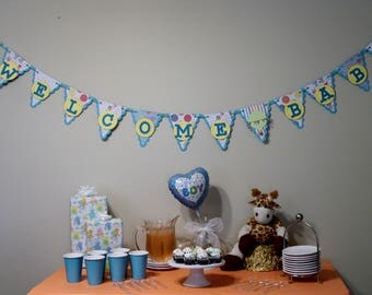 Welcome Baby banner, blue