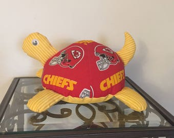 Kansas City Chiefs Handmade Stuffed Turtle