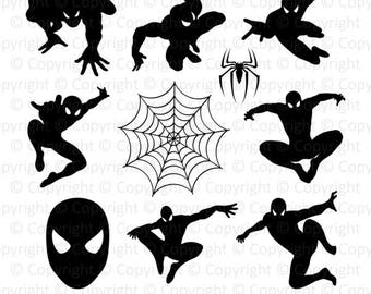 50% OFF Spiderman Monogram digital clipart, spider silhouette svg, dxf, png, eps, pdf files for scrapbook, stickers, craft, instant download
