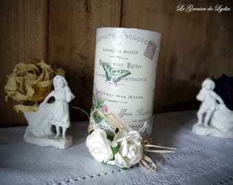 Candle decorated Mrs bird flowers 13 cm