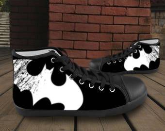 CUSTOM SHOES - High Top Canvas Shoes Batman The Dark Knight Rises Design For Men or Women, Black or White Color of Shoes