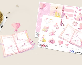I Love My Planner Sticker Kit, Erin Condren Mini Kit, Cute Pink Planner Stickers, Scrapbook Sticker, Planner Accessory - 19 Stickers #106