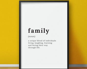 Family Definition - Definition print, Family, Printable wall art, Printable Wall Decor, Typography print - Download - Family Sign