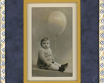 Deco frame hand made from old photo - blue, mustard yellow - old baby Photo