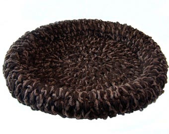 Pet Bed Basket Brown Chocolate Mocha 24-Inch Velour Cat Bed Dog Bed Mat Pad