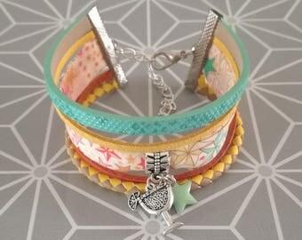 Cuff Bracelet multi strand leather cord suedine and liberty star prange blue turquoise yellow rose theme