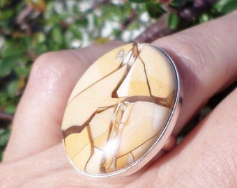 RING 925 sterling silver and brecciated Jasper