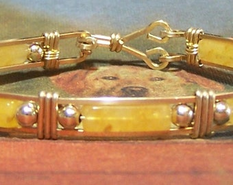 Yellow Jade and Gold Fill Bracelet