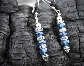 Earrings, Blue glass drop earrings with rainbow spacer crystals. gift earrings