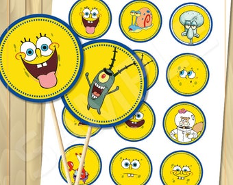 Spongebob Cupcake toppers for birthday party, Digital file - instant download