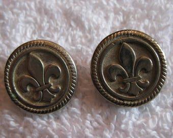 Pair of Fleur De Lis Silver Buttons