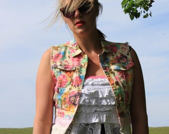 Floral Vest with Up Cycled Materials