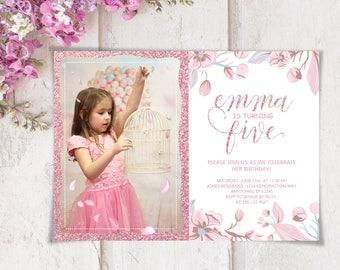 Photo Invitation Pink Invitation Glitter Invitation Birthday Invitation Party Invitation Printable Invitation Pink Flowers Invite Floral