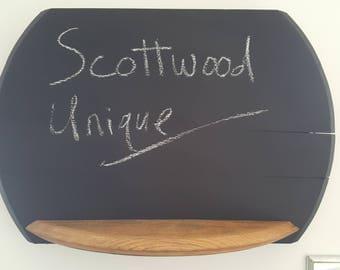 Solid oak chalkboard with shelf