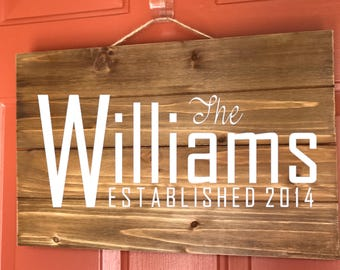 17x11 personalized name and established date wood sign | wedding gifts | housewarming gifts