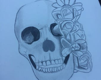 Skull with flowers design