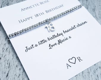 18th Birthday gift, 16th charm bracelet, 21st Jewellery, 30th gift, 40th Milestone , 50th, silver plated bead stretch, personalised card
