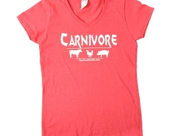 Women's  Lilac Zero Carb Carnivore V-neck Tee Shirt