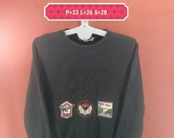 Vintage Jeep Spirit Sweatshirt Crewneck Spellout Black Colour Size XL Adidas Sweatshirts Nike Sweatshirts Jeep Shirt Extreme Brand