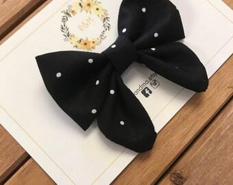 Polka dot Sailor Bow, Black Sailor Bow, Sailor Bow
