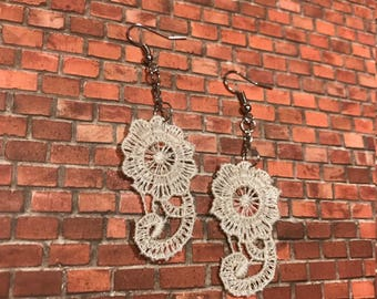 Cream Colored Lace Dangle Earrings