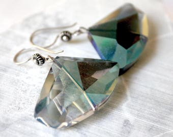 GALACTIC Design in Silver 925 and crystal blue night earrings