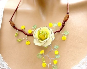 Cold porcelain pink yellow and green necklace.