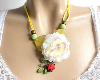 Necklace floral Ladybug red and green leaves