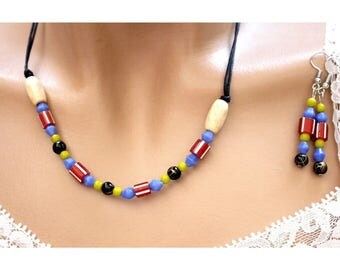 Multicolored beads jewelry set / black