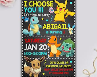 Pokemon Invitation, Pokemon Party, Pokemon Birthday, Pokemon Printable, Pokemon Birthday Invitation, Pokemon Birthday Party, Pokemon Invite