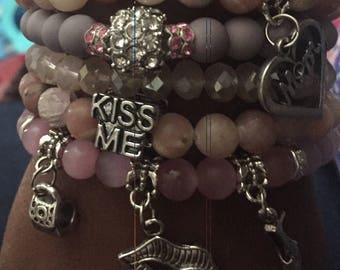 5pc pink/gray beaded set w charms