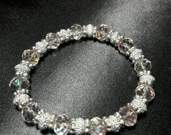 Shimmering Pale Pink Crystal Bracelet with glittering silver accents
