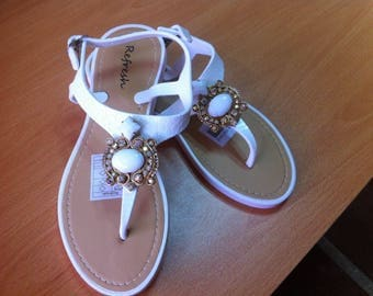 Hand-decorated with Rhinestones and soutache sandals