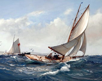 Fair Wind Painting by Montague Dawson Art Reproduction