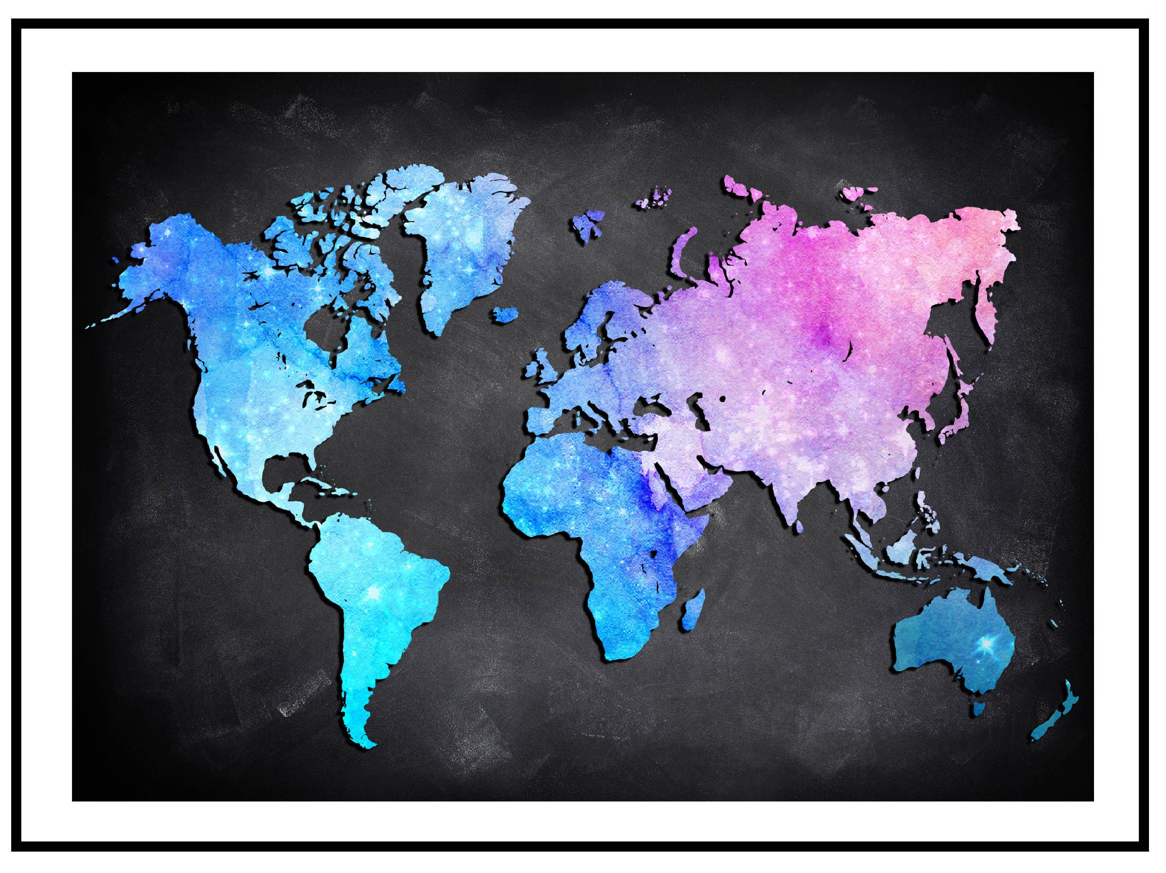 Colorful watercolor world map poster or canvas world map wall art colorful watercolor world map poster or canvas world map wall art detailed print push gumiabroncs Images