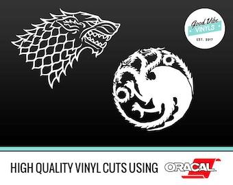 Game of Thrones Stickers - House Stark - Direwolf Sticker - House Targaryen of Dragon Sticker - Direwolves - Game of Thrones Laptop Macbook