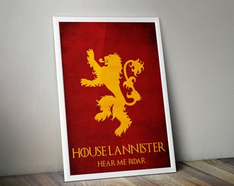 Game Of Thrones House Lannister Sigil Minimalist Print - Game Of Thrones Poster Print, GOT Wall Art, Lannister Sigil Minimalist Art Print.