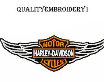 Harley Davidson Embroidery Design Wings