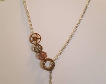 Steampunk lariat necklace, key, gears and sprockets