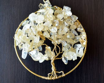 Wire-wrapped Tree of Life pendant or sun catcher with white and yellow semi-translucent stone beads on gold wire