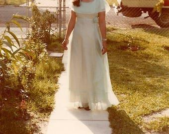 Aqua  Mermaid Authentic Vintage Gown