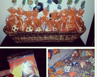 Filled Soccer goodie bags.