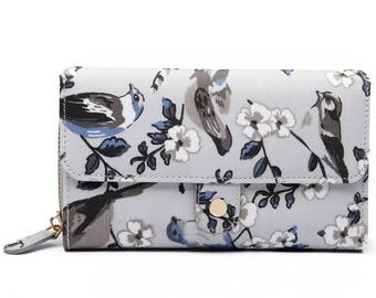 Grey Bird Print Purse